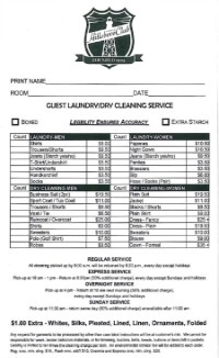 Dry Cleaning Card